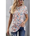 Womens Stylish Leopard Printed Short Sleeve Crew Neck Twist Hem Relaxed Tee Top in Light Gray