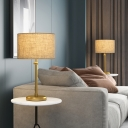 Metallic Barrel Desk Light Colonial LED Living Room Night Table Lamp in Gold with Fabric Shade