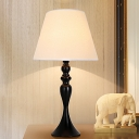 Black/White LED Reading Book Light Colonial Fabric Bell Nightstand Lamp for Living Room