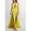 Womens Sexy Simple Plain Cutout Halter Neck Open Back Split Side Maxi Transparent Cami Dress with Panty