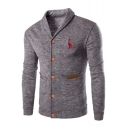 Mens Simple Letter Animal Embroidery Turn-Down Collar Button Down Casual Fitted Cardigan