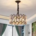 Drum Bedroom Chandelier Pendant Vintage Crystal Rectangle 5/6-Head Black Hanging Lamp Kit, 16