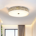 White Round LED Flush Mount Minimalistic Crystal Bedroom Ceiling Lighting Fixture, 16/19.5 Inch Wide
