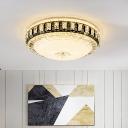 Simple Cap Shaped Flushmount Beveled Crystal LED Flush Mount Ceiling Light in Black