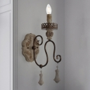 French Country Candlestick Wall Lighting 1/2-Light Wooden Sconce with Undulated Arm in Bronze