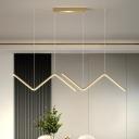 Curved Linear Multi Ceiling Light Simple Metallic Dining Room LED Pendulum Lamp in Black/Gold, White/Warm Light