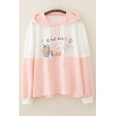 Lovely Girls Letter Good Luck Bear Rabbit Cat Graphic Colorblock Long Sleeve Button Detail Drawstring Loose Fit Hoodie