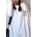 Street Letter Groovy Mixed Cartoon Graphic Long Sleeve Crew Neck Relaxed Fit Pullover Sweatshirt