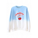 Fashionable Letter Strawberry Milk Graphic Colorblock Long Sleeve Crew Neck Loose Fit Pullover Sweatshirt
