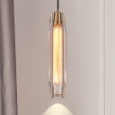 1 Bulb Tube Mini Pendant Light Postmodern Clear Cut Crystal Hanging Ceiling Light over Table