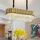 Gold LED Ceiling Suspension Lamp Modernism Crystal 2-Tier Oblong Island Light Fixture