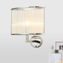 Modern Half-Drum Wall Lamp 1-Bulb Clear Ribbed Crystal Wall Mounted Light for Living Room