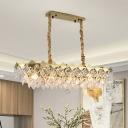 Elongated Crystal Squares Island Lamp Modern Stylish 10 Lights Restaurant Pendant Lighting Fixture in Gold