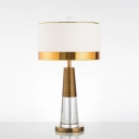 Fabric Drum Shade Table Lamp Postmodern 1 Bulb Bedroom Night Light with Cone Crystal Base in White-Brass