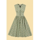 Retro Ditsy Floral Print Sleeveless V-neck Button up Mid Pleated Swing Dress for Girls