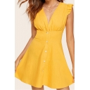 Fashionable Womens Solid Color Single Breasted Gathered Waist Pleated V Neck Ruffle Sleeves Mini Fit&Flare Dress in Yellow