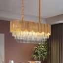 Contemporary Tiered Ceiling Lamp Crystal Rectangle 8 Heads Island Chandelier Light in Gold for Dining Room