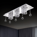LED Flush Mount Recessed Lighting Modern Bedroom Ceiling Light with Cube Crystal Shade in Nickel, Warm/White Light
