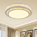 Modern Round Ceiling Flush Light Inserted Beveled Cut Crystal LED Flush Mount in White