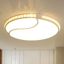 Simple Disc Shaped Flush Mount Crystal Embedded LED Ceiling Light in White, 16.5