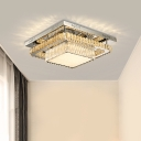 Round/Square Crystal Ceiling Flush Mount Simple Bedroom LED Flushmount Lighting in Chrome with Remote