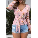 Pretty All over Floral Print Tie Waist V Neck Long Sleeve Slim Fitted T-Shirt for Women
