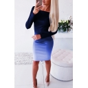 Unique Ombre Gathered Waist Off the Shoulder Long Sleeve Midi Bodycon Dress for Women