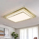 Rectangular Living Room Ceiling Fixture Minimalist Crystal Encrusted Nickel LED Flush Mount Light