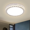 Round Laser-Cut Iron Flush Light Fixture Simple Bedroom LED Ceiling Lamp in White with Crystal Accent