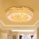 LED Flush Ceiling Light Fixture Modern Round Clear Crystal Flushmount Lighting for Living Room