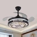 4 Blades Black LED Fan Light Kit Modern Crystal Embedded Round Semi-Flush Ceiling Light, 19