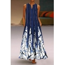 Creative Motif Printed Striped Lined Pleated Side Pockets Sleeveless Notched Neck Long Plus Sized A-Line Dress for Ladies