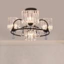 Rectangle Crystal Block Semi Flush Modern 4/8 Lights Black Ceiling Mount Light Fixture with Droplets