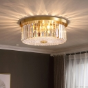 Brass Drum Flush Mount Fixture Contemporary Crystal Block 4 Lights Ceiling Lamp for Drawing Room