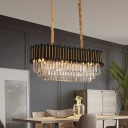 Crystal Block Layered Island Light Fixture Contemporary 8-Head Suspension Lighting in Black and Gold
