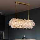 Faceted Crystal Panels Linear Ceiling Pendant Contemporary 4 Bulbs Gold Island Lighting Idea for Kitchen