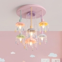 Modern Dome Semi Flush Chandelier Metal 7-Light Kids Room Multi Light Pendant with Crystal Droplets