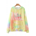 Letter Don't Be A Prick Cactus Graphic Tie Dye Long Sleeve Drawstring Pouch Pocket Relaxed Fashionable Hoodie in Yellow