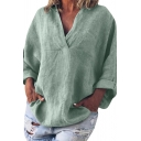 Simple Womens Plain Pocket Rolled Edge Long Sleeve V Neck Relaxed Fit Tunic Top Tee