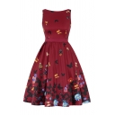 Trendy Ladies Plant Bird Printed Zip Patchwork Bow Backless Sleeveless Round Neck Short Swing Dress