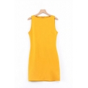 Womens Trendy Yellow Solid Color Button Embellished Side Mini Sheath Tank Dress