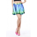 Pure Blue Print High Waist Pleated Mini Skirt