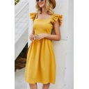 Gorgeous Womens Ruffled Sleeveless Square Neck Bow Tie Backless Mid Pleated A-line Tank Dress in Yellow