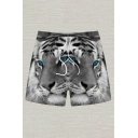 Cool 3D Mens Relax Shorts Animal Tiger Pattern Pocket Drawstring Straight Fit Mid Rise Mid Thigh Relax Shorts