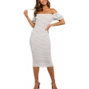 Sexy Polka Dot Printed Ruffle Trim Off the Shoulder Short Puff Sleeve Midi Bodycon Dress for Ladies