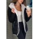 Leisure Ladies Solid Color Sherpa Liner Long Sleeve Hooded Regular Fit Jacket