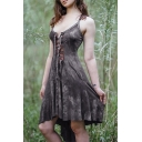 Leisure Tie Dye Printed Spaghetti Straps Lace-up Front High Low Hem Mid Smock Cami Dress for Women