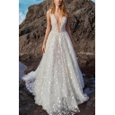 Womens Amazing Sequins Plunging Neck Sleeveless Maxi Pleated Flowy Dressing Gown in White