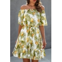 Boutique Girls Lemon Leaves Printed Pleated Ruffle Trim Off the Shoulder Short Frill Sleeve Short A-Line Dress in White