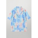 Leisure Tie Dye Pattern Short Sleeve Lapel Neck Button-up Loose Fit Shirt Top in Blue